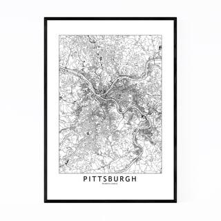 Noir Gallery Pittsburgh Black & White Map Framed Art Print