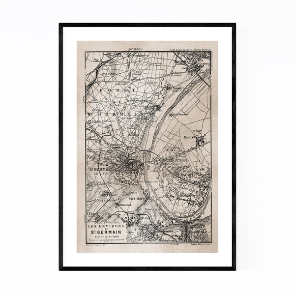 Noir Gallery Vintage Paris Sepia City Map Framed Art Print