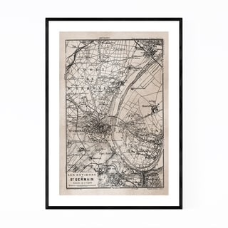 Noir Gallery Vintage Paris Sepia City Map Framed Art Print