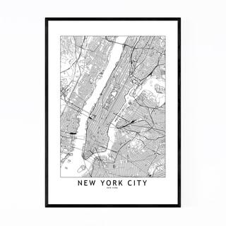 Noir Gallery New York Black & White City Map Framed Art Print