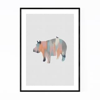 Noir Gallery Pastel Abstract Hippo Animal Framed Art Print