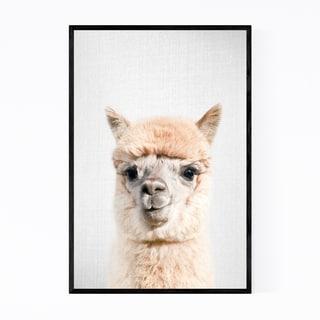 Noir Gallery Nursery Alpaca Peekaboo Animal Framed Art Print