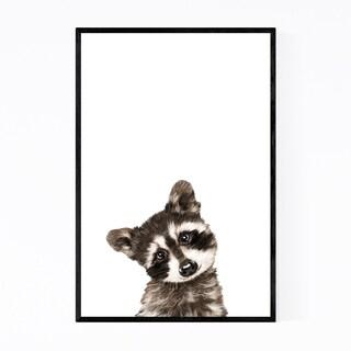 Noir Gallery Baby Raccoon Peekaboo Animal Framed Art Print