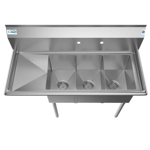 Shop KoolMore 45-Inch Three Compartment Stainless Steel ...