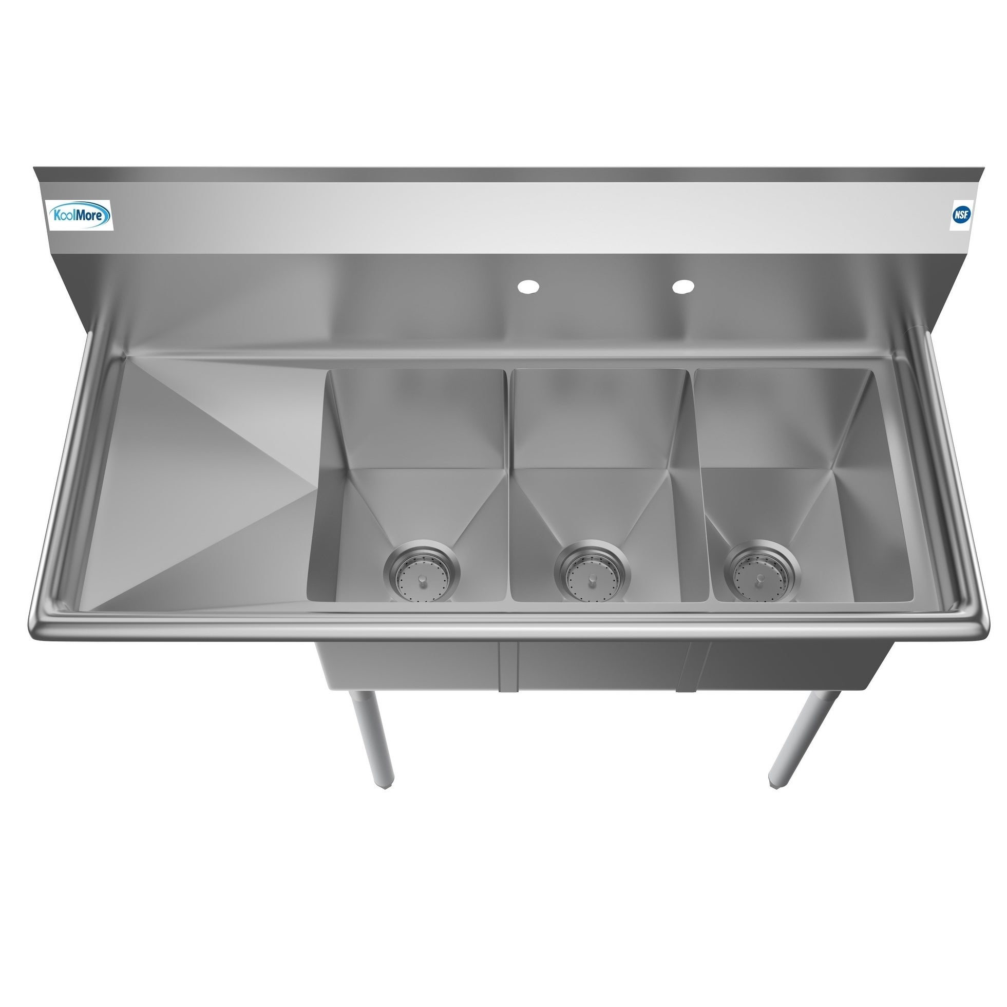 KoolMore 45-Inch Three Compartment Stainless Steel Commercial Kitchen Sink