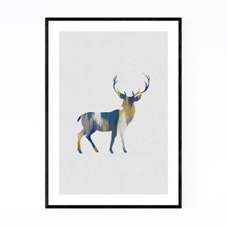 Noir Gallery Blue Deer Buck Abstract Animal Framed Art Print