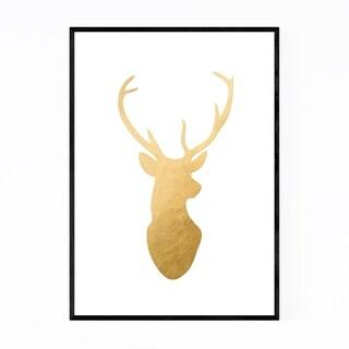 Noir Gallery Gold Minimal Deer Buck Animal Framed Art Print
