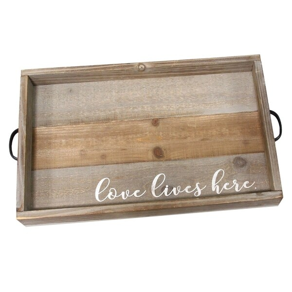 """Stratton Home Decor """"Love Lives Here"""" Wood Tray - N/A"""