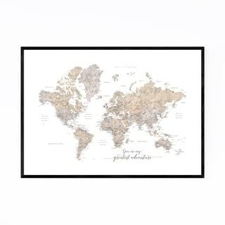 Noir Gallery Adventure Rustic World Map Framed Art Print
