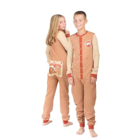 Boys & Girls Kid's Union Suit Pajamas HAPPY CAMPER Design On Butt Flap