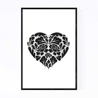 Noir Gallery Digital Floral Botanical Heart  Framed Art Print