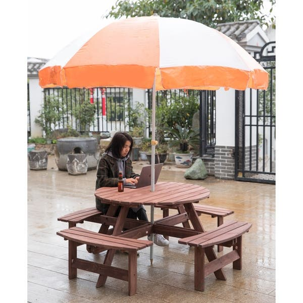 Cool Shop Outdoor Wooden Patio Deck Garden Round Picnic Table For Gmtry Best Dining Table And Chair Ideas Images Gmtryco