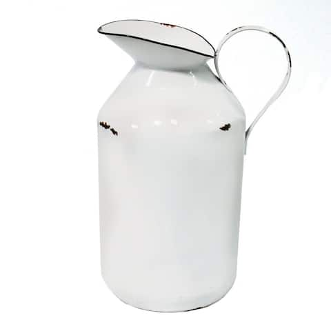 Stratton Home Decor Decorative White Enamel Milk Jug