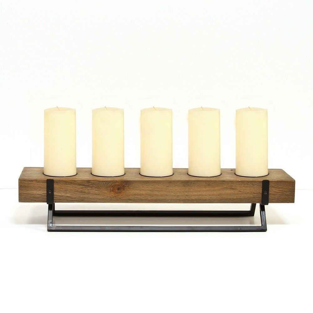 Dark Brown Okeline Tealight Candle Holder Gift Set of 2 Pieces Contains 8 Natural Scented Candles 4 Scents Heart-shaped Solid Wood Candle Holder
