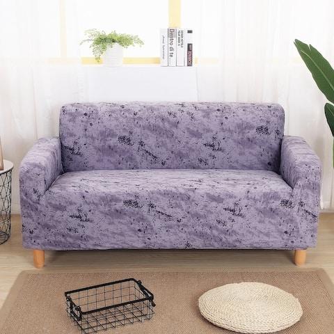 Enova Home Purple Grey Elegant Polyester and Spandex Stretch Washable Box Cushion Loveseat Slipcover