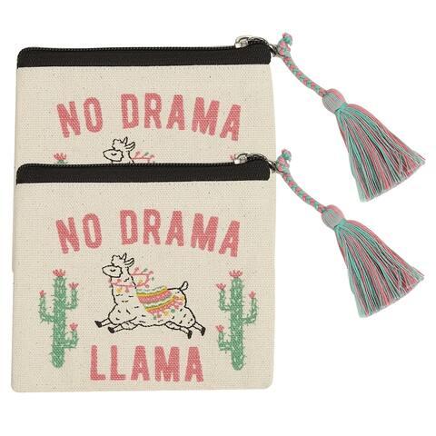 No Drama Llama Coin Pounches, Set of 2