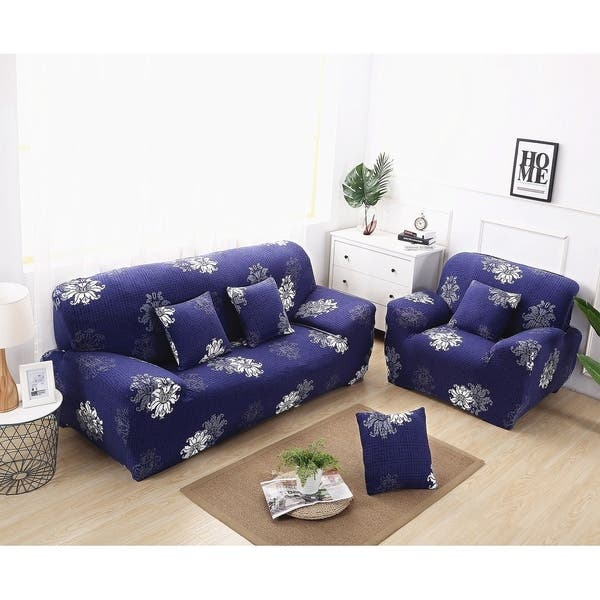 Shop Enova Home Navy Blue Elegant Polyester and Spandex ...