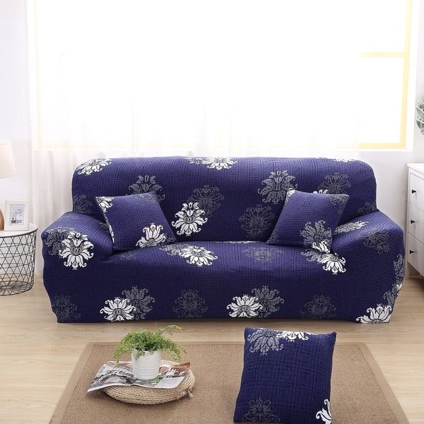 Enova Home Navy Blue Elegant Polyester and Spandex Stretch Washable Box Cushion Sofa Slipcover