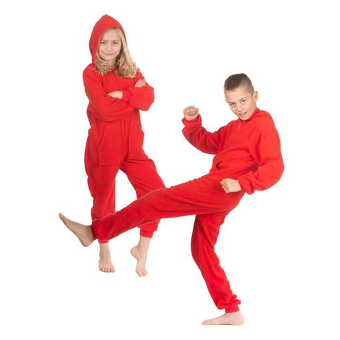 Hoodie one piece Jumpsuit Pajama in Red Fleece for Boys & Girls