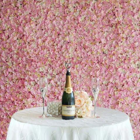 Enova Home 33 Sq ft. 12 Panels Pink Hydrangea Artificial Faux Foliage Wall Mat Panel