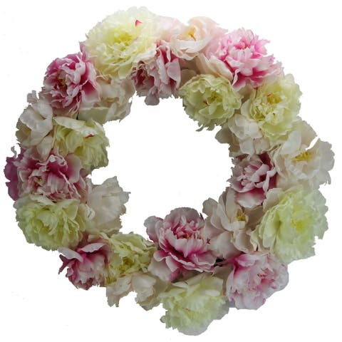 "Artificial 24"" Peony Wreath"