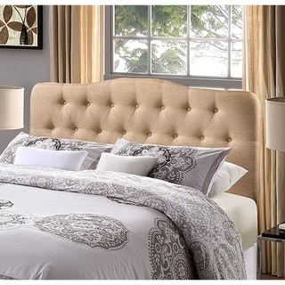 Kenmore Beige Fabric Upholstered Tufted Full Size Headboard