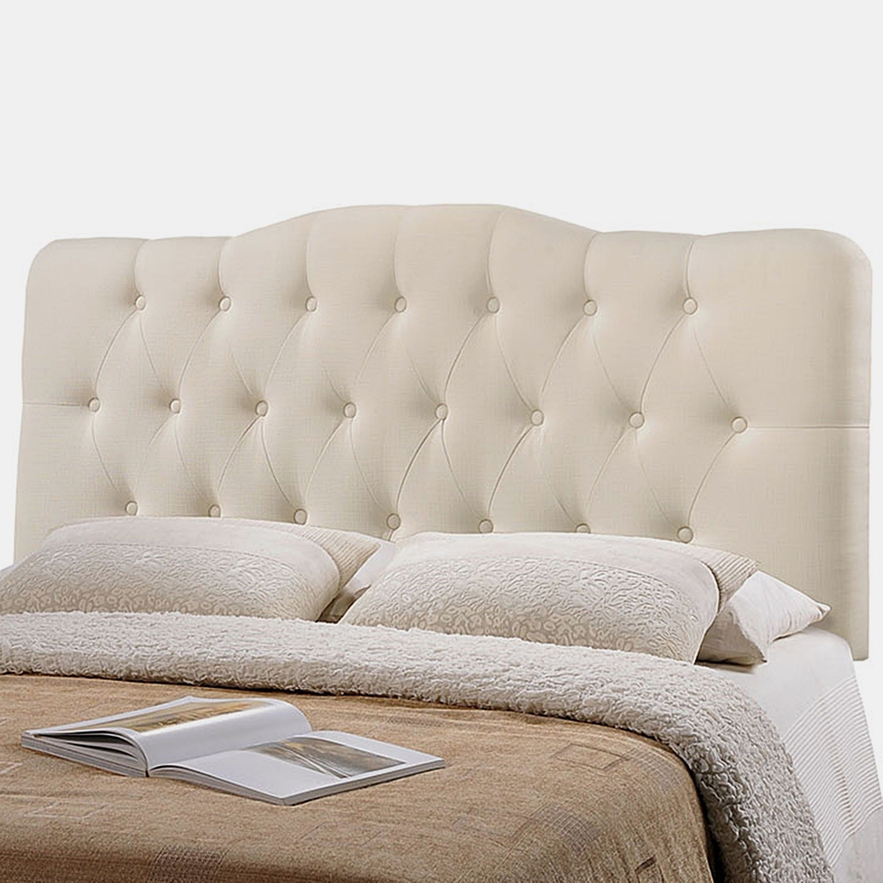 Kenmore Ivory Fabric Upholstered Tufted King Size Headboard On Sale Overstock 27468520