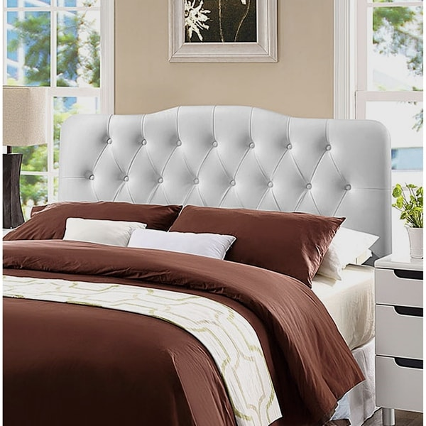 Rovna White Upholstered Tufted King Size Headboard