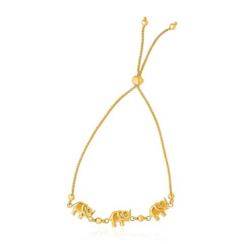 14k Yellow Gold Elephant Station Lariat Style Bracelet