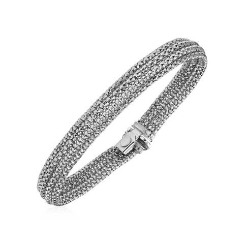 14k White Gold 7 1/4 inch Multi Strand Textured Bracelet