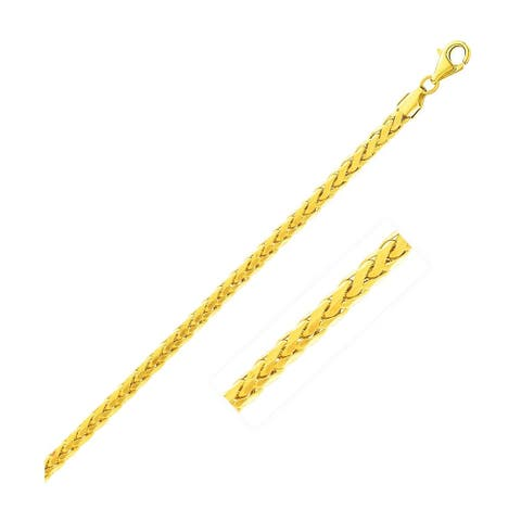 2.7mm 14k Yellow Gold Diamond Cut Round Franco Bracelet