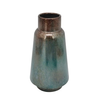 Rustic Style Metal Vase with Round Top and Flared Body, Large, Bronze and Blue