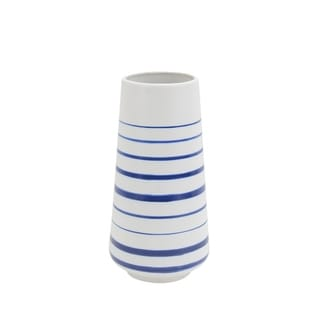 Decorative Ceramic Vase with Striped Design, White and Blue