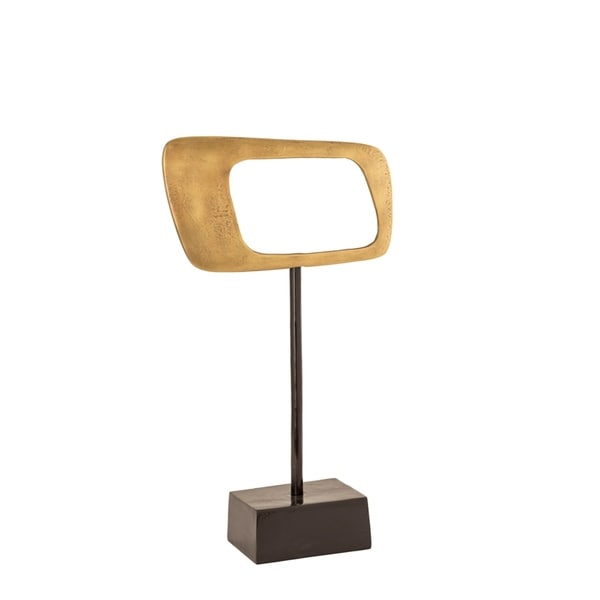 Horizontal Rhombus Shaped Aluminium Cutout Statue on Stand, Gold and Brown