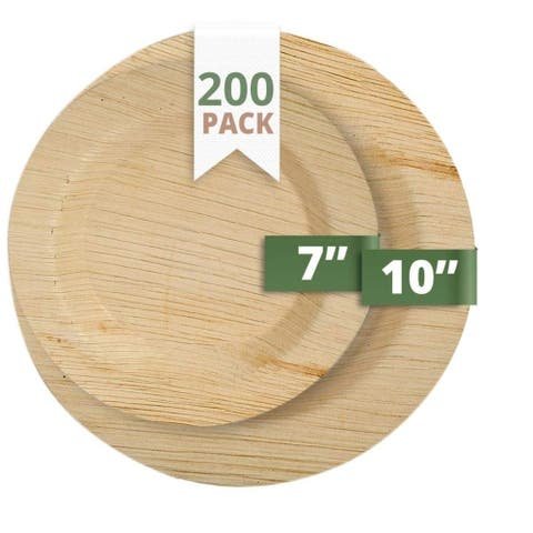 CaterEco Deluxe Round Palm Leaf Plates Set (200 Pack)