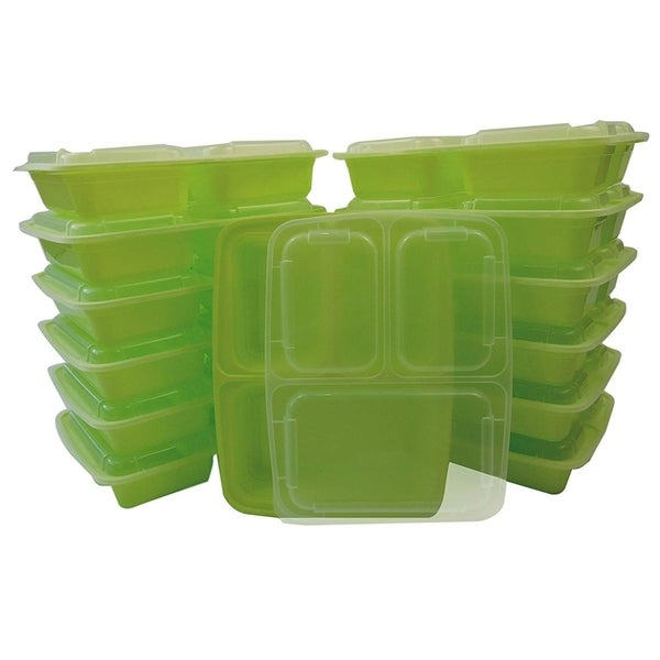 Table to Go 150-Pack Bento Lunch Boxes with Lids (3 Compartment/ 36 oz)