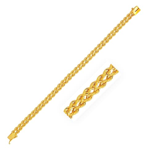 6.0 mm 14k Yellow Gold Two Row Rope Bracelet