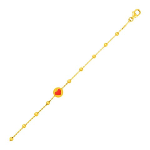 14k Yellow Gold Childrens Bracelet with Beads and Enameled Heart