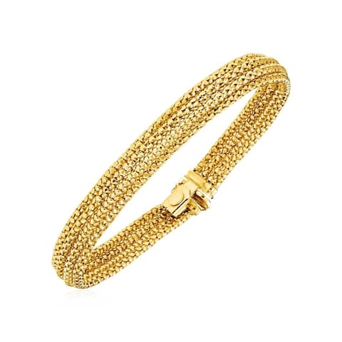 14k Two Tone Gold 7 1/4 inch Multi Strand Textured Bracelet