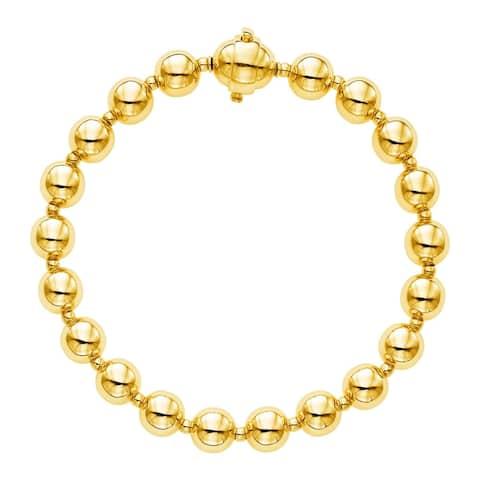 14k Yellow Gold 7 3/4 inch Polished Bead Bracelet