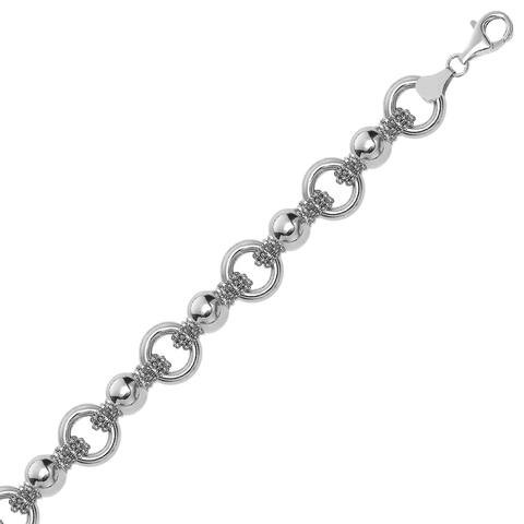 Sterling Silver Multi Strand Bead Chain Bracelet with Rings and Rhodium Plating