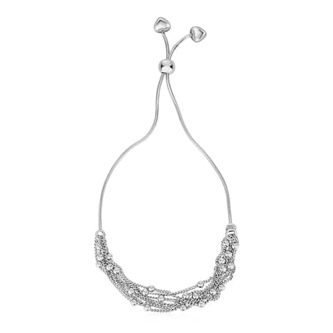 Adjustable Multi-Strand Chain and Bead Bracelet in Sterling Silver