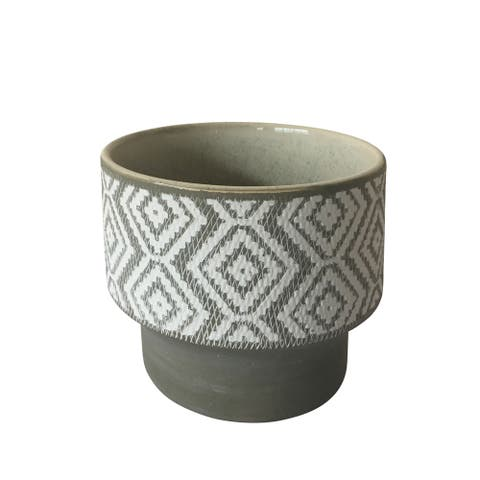 Contemporary Style Ceramic Planter with Intricate Design, Small, Gray and White