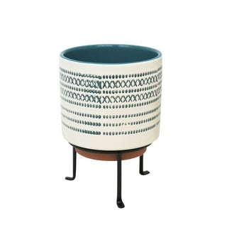 Aesthetic Ceramic Planter on Stand with Cylindrical Body, White