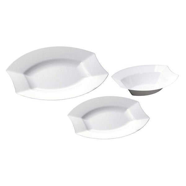 """Table to Go 200 Piece Set - 100 9.5"""" Dinner Plates & 100 7.5"""" Salad Plates, Collection - Vogue, Color - Bone. Opens flyout."""