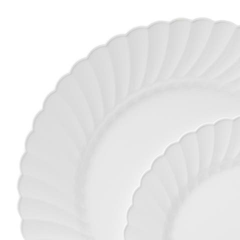 """Table to Go 'I Can't Believe Its Plastic' 7.5"""" Salad Plates, 200 Pieces, Collection - Scallops, Color - Bone"""