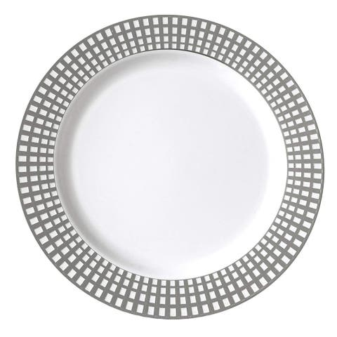 """Table To Go 7.5"""" Salad Plates, 200 Pieces, Collection - Classic Venice, Color - Bone with Silver Rim"""