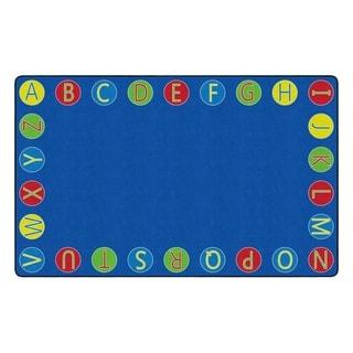 "Flagship Carpet Kids Nylon Alphabet Circles Classroom Seating Rug - 7'6"" x 12' - 7'6"" x 12'"