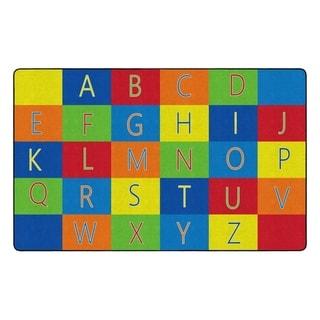 "Flagship Carpet Kids Nylon Learning Alphabet Classroom Seating Rug - 7'6"" x 12' - 7'6"" x 12'"