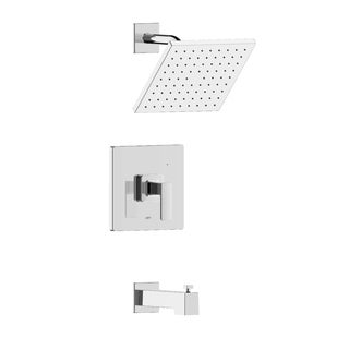 Hôtel de Ville Square Single Handle Tub and Shower Trim Set with Rough-in Valve - Chrome